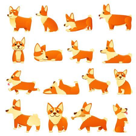 Corgi dogs icons set. Cartoon set of corgi dogs vector icons for web design Ilustracja