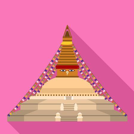 Thai temple icon. Flat illustration of thai temple vector icon for web design