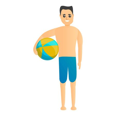 Man ready to beach play icon. Cartoon of man ready to beach play vector icon for web design isolated on white background