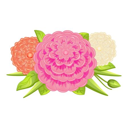 Fashion camellia bouquet icon. Cartoon of fashion camellia bouquet vector icon for web design isolated on white background Illustration
