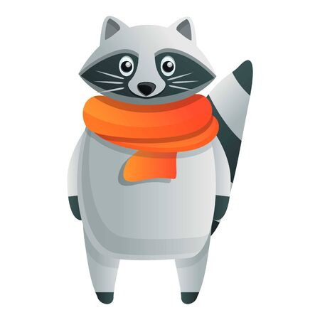 Raccoon with scarf icon. Cartoon of raccoon with scarf vector icon for web design isolated on white background