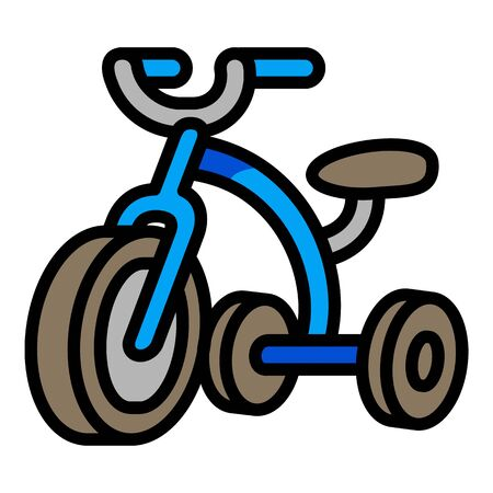 Blue tricycle icon. Outline blue tricycle vector icon for web design isolated on white background Illustration