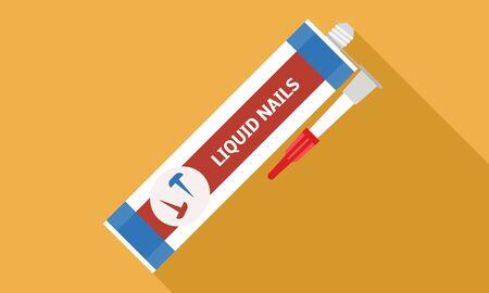 Liquid nails icon. Flat illustration of liquid nails vector icon for web design Illustration