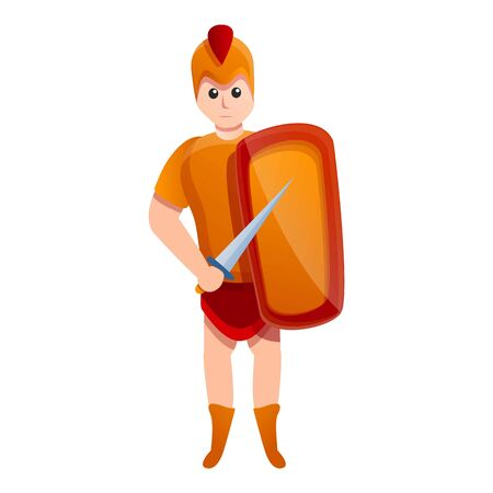 Young gladiator icon. Cartoon of young gladiator vector icon for web design isolated on white background