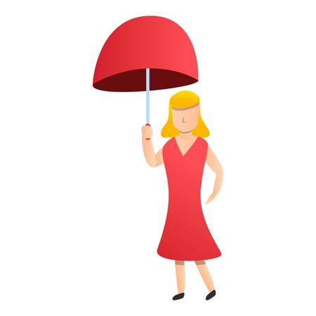 Blonde woman red umbrella icon. Cartoon of blonde woman red umbrella vector icon for web design isolated on white background