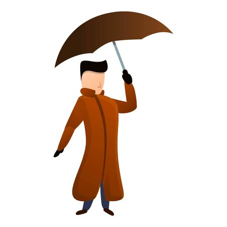 Man coat brown umbrella icon. Cartoon of man coat brown umbrella vector icon for web design isolated on white background Иллюстрация