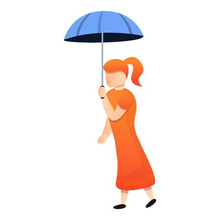Red hair lady with umbrella icon. Cartoon of red hair lady with umbrella vector icon for web design isolated on white background
