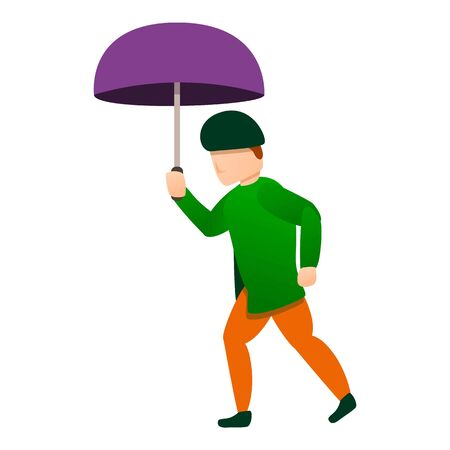 Autumn man under rain icon. Cartoon of autumn man under rain vector icon for web design isolated on white background