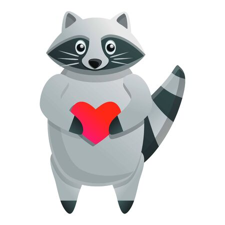 Raccoon with heart icon. Cartoon of raccoon with heart vector icon for web design isolated on white background Stock Illustratie