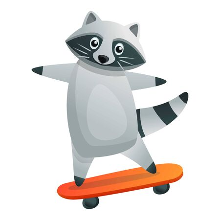 Raccoon ride skateboard icon. Cartoon of raccoon ride skateboard vector icon for web design isolated on white background