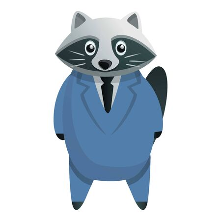 Business raccoon icon. Cartoon of business raccoon vector icon for web design isolated on white background