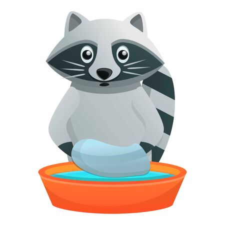 Raccoon wash in basin icon. Cartoon of raccoon wash in basin vector icon for web design isolated on white background Stock Illustratie