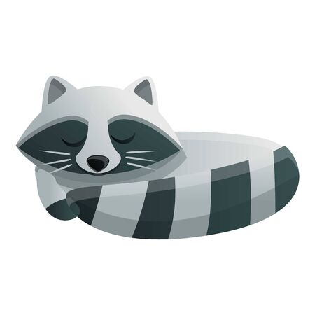 Raccoon sleeping icon. Cartoon of raccoon sleeping vector icon for web design isolated on white background