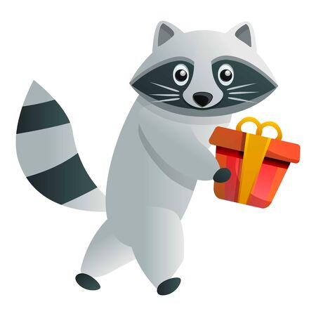 Raccoon gift box icon. Cartoon of raccoon gift box vector icon for web design isolated on white background