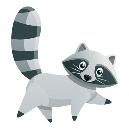 Walking raccoon icon. Cartoon of walking raccoon vector icon for web design isolated on white background