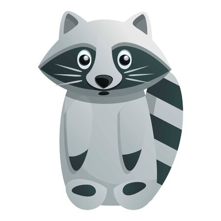 Wild raccoon icon. Cartoon of wild raccoon vector icon for web design isolated on white background Stock Illustratie