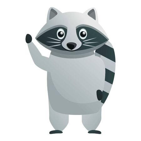 Say hi raccoon icon. Cartoon of say hi raccoon vector icon for web design isolated on white background Stock Illustratie