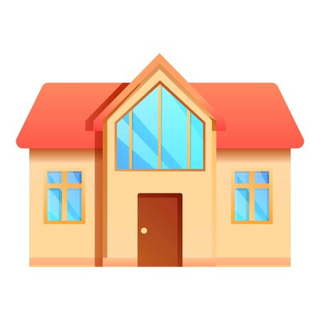 Front cottage icon. Cartoon of front cottage vector icon for web design isolated on white background