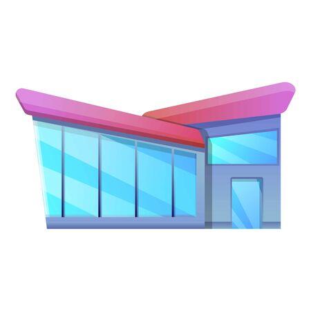 Glass window villa icon. Cartoon of glass window villa vector icon for web design isolated on white background