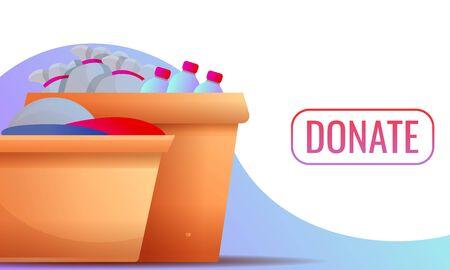 Donate concept banner. Cartoon illustration of donate vector concept banner for web design
