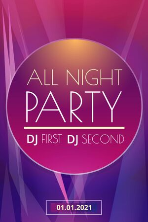 Night party concept banner. Cartoon illustration of night party vector concept banner for web design