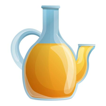 Olive oil glass pot icon. Cartoon of olive oil glass pot vector icon for web design isolated on white background Illustration