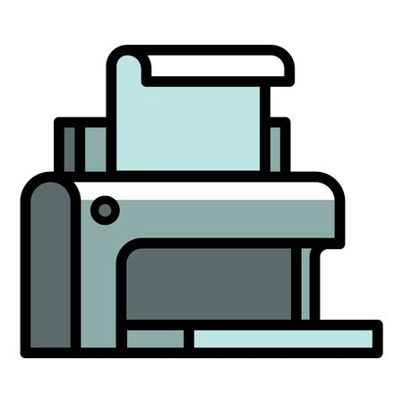 Plastic printer icon. Outline plastic printer vector icon for web design isolated on white background  イラスト・ベクター素材