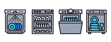 Conjunto de iconos de lavavajillas. Conjunto de esquema de iconos de vector de lavavajillas para diseño web aislado sobre fondo blanco