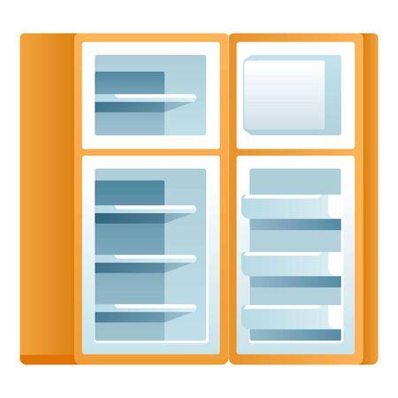 Open kitchen fridge icon. Cartoon of open kitchen fridge vector icon for web design isolated on white background Ilustração