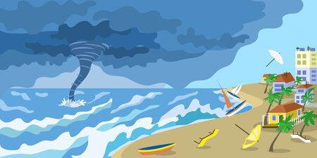 Storm tornado at city beach concept banner. Flat illustration of storm tornado at city beach vector concept banner for web design