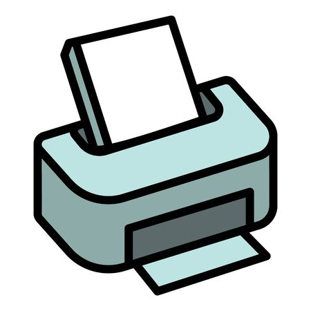 Printer icon. Outline printer vector icon for web design isolated on white background  イラスト・ベクター素材