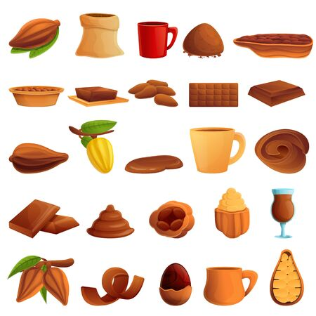 Cocoa icons set. Cartoon set of cocoa vector icons for web design