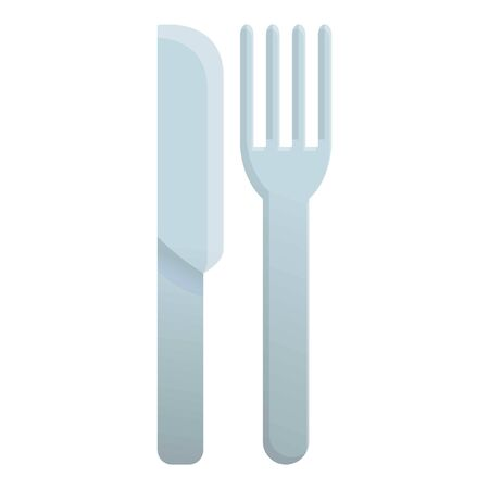 Plastic knife fork icon. Cartoon of plastic knife fork vector icon for web design isolated on white background