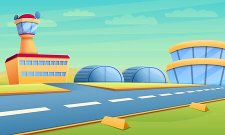 Hangar concept banner. Cartoon illustration of hangar vector concept banner for web design Иллюстрация
