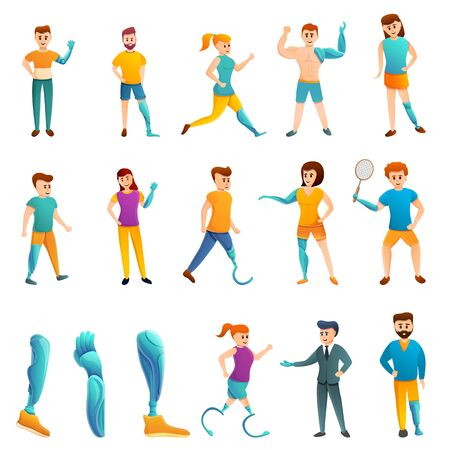 Artificial limbs icons set. Cartoon set of artificial limbs vector icons for web design Illusztráció