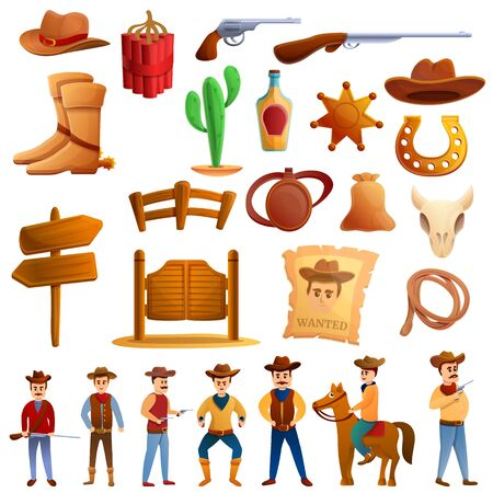 Cowboy icons set. Cartoon set of cowboy vector icons for web design Stock Illustratie