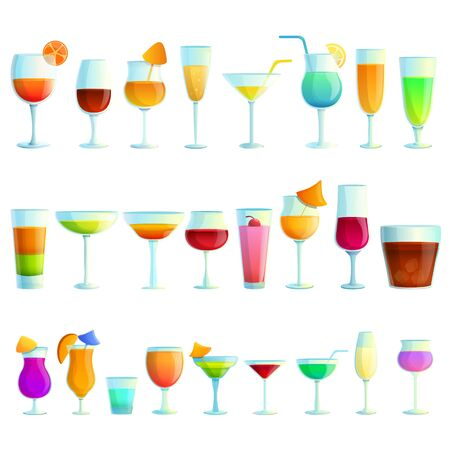 Cocktail icons set. Cartoon set of cocktail vector icons for web design Illustration