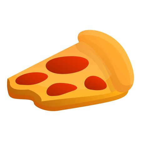 Bite pizza slice icon. Cartoon of bite pizza slice vector icon for web design isolated on white background