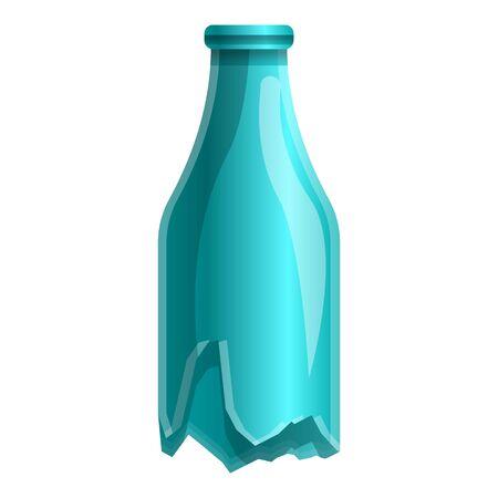 Broken glass bottle icon. Cartoon of broken glass bottle vector icon for web design isolated on white background 向量圖像