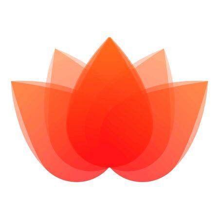 Red lotus icon. Cartoon of red lotus vector icon for web design isolated on white background