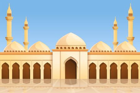 Mosque temple concept background. Cartoon illustration of mosque temple vector concept background for web design