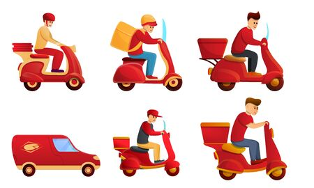 Food delivery service icons set. Cartoon set of food delivery service vector icons for web design