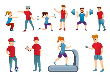 Coach icons set. Cartoon set of coach vector icons for web design Çizim