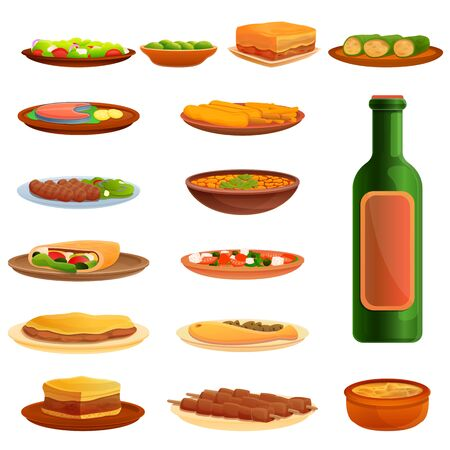 Greek cuisine icons set. Cartoon set of Greek cuisine vector icons for web design Ilustracja