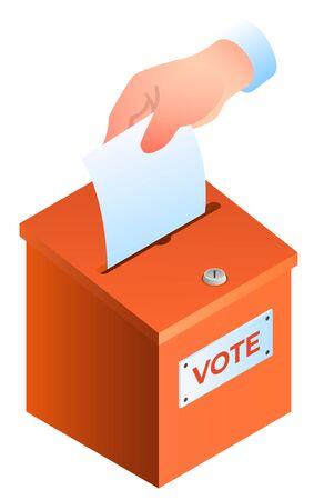 Hand puts ballot in the ballot box banner. 向量圖像