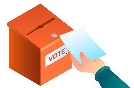 New hand puts ballot in the ballot box concept.