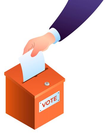 Hand puts ballot in the ballot box concept.
