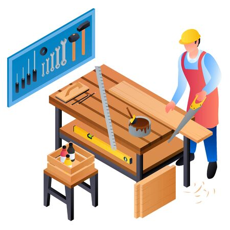 Carpenter working concept background. Isometric illustration of carpenter working vector concept background for web design