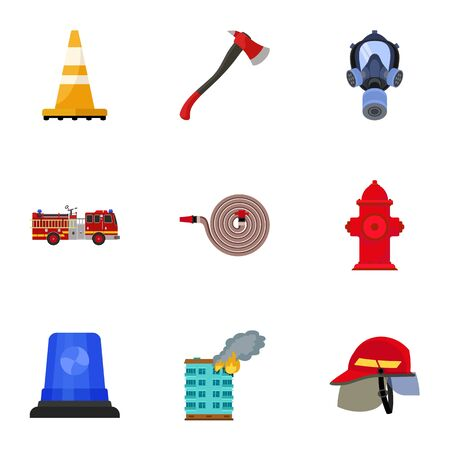 Firefighter icon set. Flat set of 9 firefighter icons for web design isolated on white background