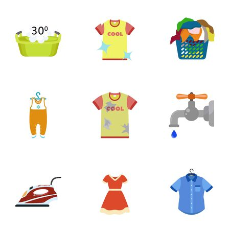 Home wash icon set. Flat set of 9 home wash icons for web design isolated on white background
